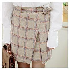 Sechuna - Band-Waist Plaid Skirt