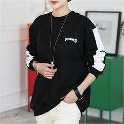 CHICFOX - Color-Block Lettering Sweatshirt
