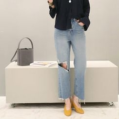 NANING9 - Frayed Baggy-Fit Jeans