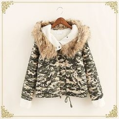 Fairyland - Faux Fur Trim Camouflage Fleece-lined Coat