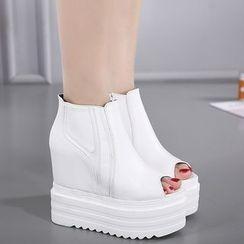 Anran - Platform Hidden Wedge Peep Toe Sandals