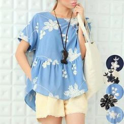 11.STREET - Elbow-Sleeve Flower Embroidered A-Line Top