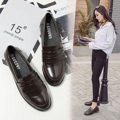 安若 - 仿皮粗跟樂福鞋