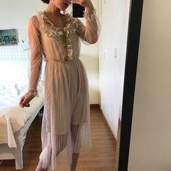 QZ Lady - Set: Long-Sleeve Sheer Pleated Midi Dress + Slipdress