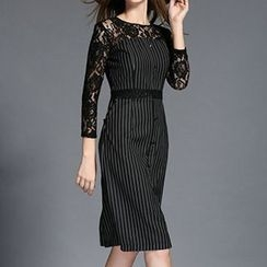 Isadora - Lace Trim Striped 3/4 Sleeve Midi Dress