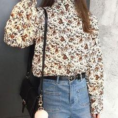 Dute - Floral Print Long-Sleeve Blouse