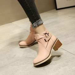 Kireina - Faux-Leather Chunky-Heel Ankle Boots
