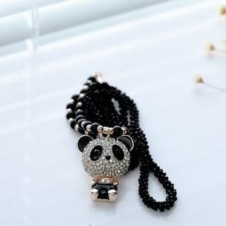 Cuteberry - Rhinestone-Panda Beaded Necklace