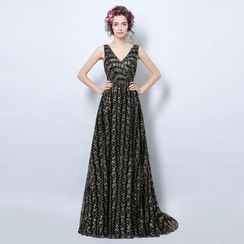Angel Bridal - Sleeveless Embroidery Evening Gown