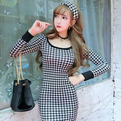 Neon Nite - Houndstooth Long Sleeve Mini Dress