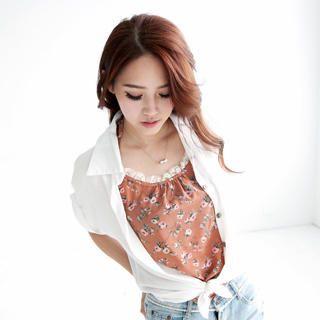 Tokyo Fashion - Lace-Trim Floral Halter Camisole