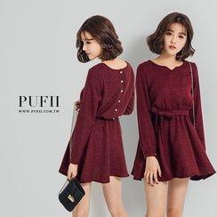 PUFII - 正韓混色腰綁帶後排釦連身裙