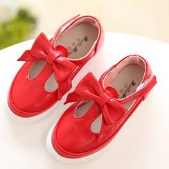 绿豆蛙童鞋 - 小童蝴蝶结T字带平跟鞋