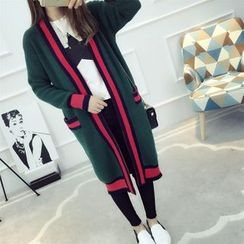 Dream Girl - Contrast Trim Long Cardigan