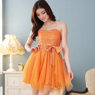 JK2 - Strapless Bow-Accent Party Dress