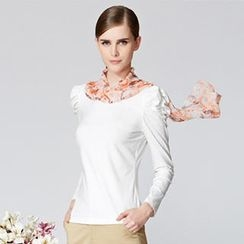 O.SA - Ruched-Sleeve Top with Scarf