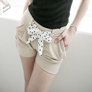 D.P-Shop - Inset Dotted-Tie Ruched Shorts