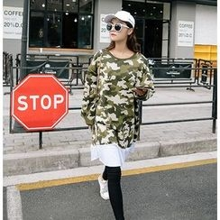 Dream Girl - Mock Two Piece Long Camo Sweatshirt