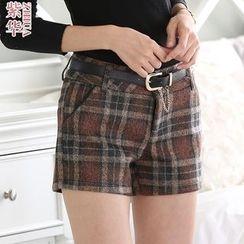 Violette - Plaid Woolen Shorts
