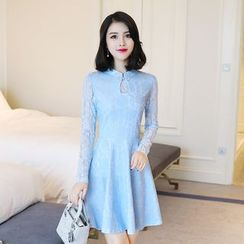 Emeline - Mandarin Collar Long-Sleeve A-Line Lace Dress