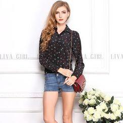 LIVA GIRL - Long-Sleeve Floral Print Chiffon Blouse