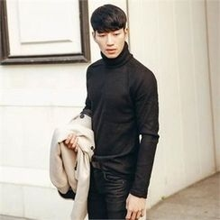 STYLEMAN - Turtle-Neck Ribbed Knit Top