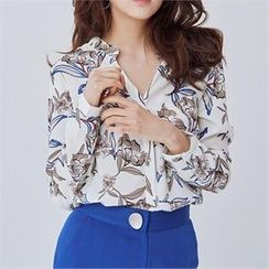 MAGJAY - Open-Front Floral-Pattern Blouse