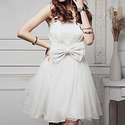 Holiday Lady - Bow Strapless Mini Prom Dress
