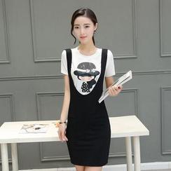 Fancy Show - 套裝: 印花T恤 + 揹帶裙