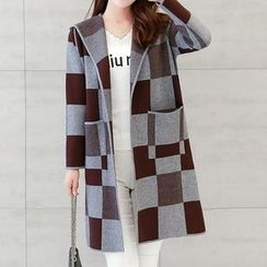 Donnae - Check Hooded Long Cardigan