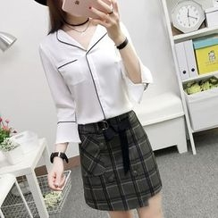 Cottony - Set: V-neck Blouse + Plaid A-line Skirt