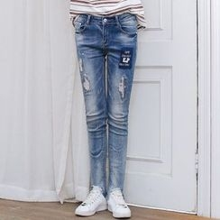 Angel Shine - Distressed Skinny Jeans