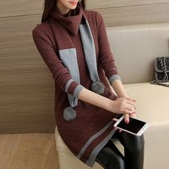 Ageha - Contrast Trim Knit Tunic with Scarf