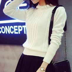 lilygirl - Frill Trim Cable-Knit Sweater