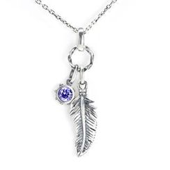 MBLife.com - Left Right Accessory - 925 Sterling Silver Feather with Purple CZ Necklace (16 Inches)