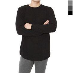 Seoul Homme - Round-Neck Plain Knit Top