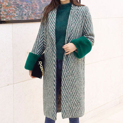 chuu - Faux-Fur Cuff Wool Blend Herringbone Coat