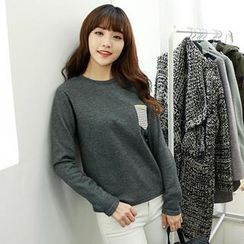 Dodostyle - Pocket-Accent Long-Sleeve Top