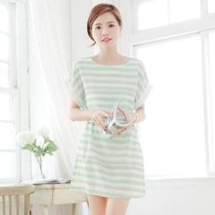 Tokyo Fashion - Cuffed Short-Sleeve Striped Dress