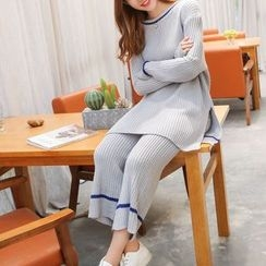 Shiga - Set: Loose Fit Long Sweater + Cropped Knit Pants
