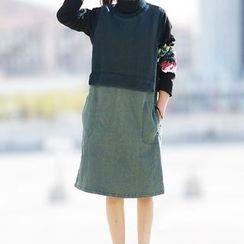 YORU - Mock Two-Piece Sleeveless Dress