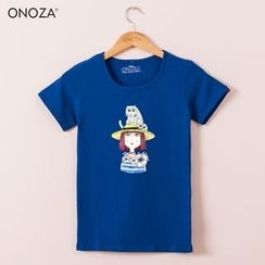 Onoza - Short-Sleeve Girl-Print T-Shirt