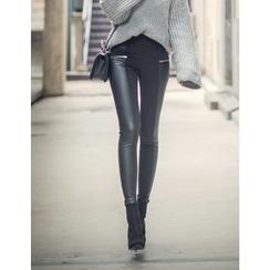 GUMZZI - Wet-Look Skinny Pants