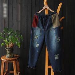aerokiss - Corduroy Panel Drawstring Jeans