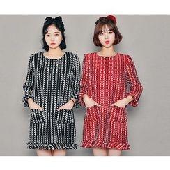 HOTPING - 3/4-Sleeve Mini Tweed Dress