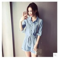 Ashlee - Elbow Sleeve Drawstring  Denim Playsuit