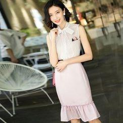洛圖 - 套裝:無袖襯衫 + 荷葉鉛筆裙