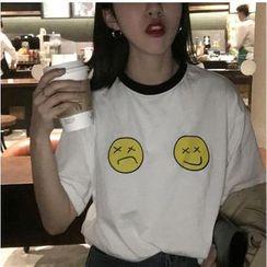 MATO - Smiley Face Ringer T-Shirt