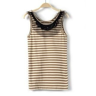 9mg - Beaded Mesh-Layered Striped Tank Top