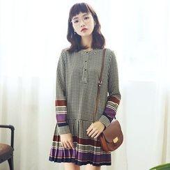 Dimosqisi - Pleated Stand-Collar Print Chiffon Long Sleeve Dress